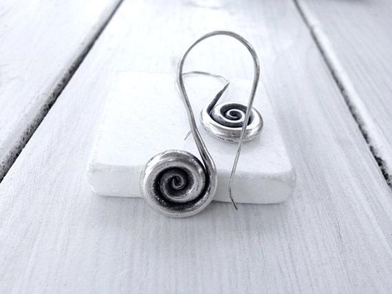 Sterling Silver Spiral Earrings, Greek Jewelry, Spiral Dangle Earrings, Minimalist Earrings,  Infinity Earrings, Spiral Hooks,Santorini