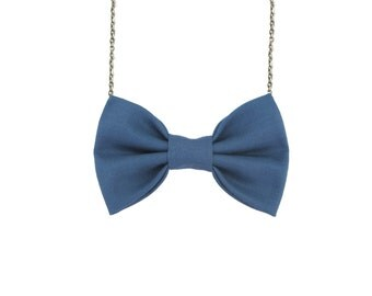Steel Blue Bowtie Necklace , Women Bow Tie, Pastel Blue
