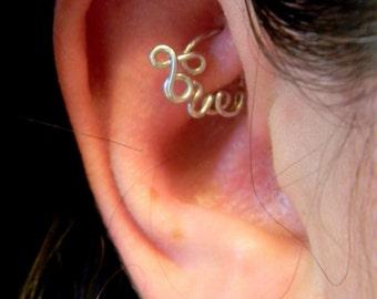 Love Hoop Cartilage Earring, for Daith, Rook, Tragus, Snug, Helix, and Forward Helix