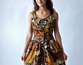 Vintage Jungle Print 80's Romper Onesie Playsuit Mini Dress Size Small/Medium