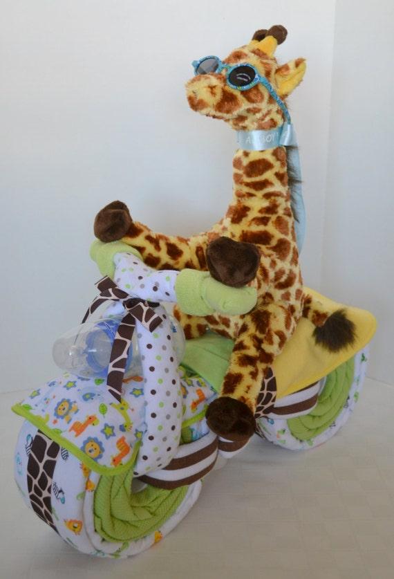 motorcycle bike diaper cake baby cake giraffe jungle, Baby shower invitation