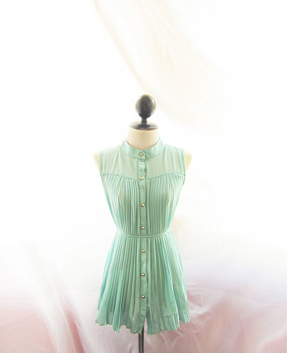 Misty Nostalgia Mint Seafoam Green Breakfast at Tiffany's Light Aqua Ballerina Peasant Marie Antoinette Soft Chiffon Dress y Long Blouse