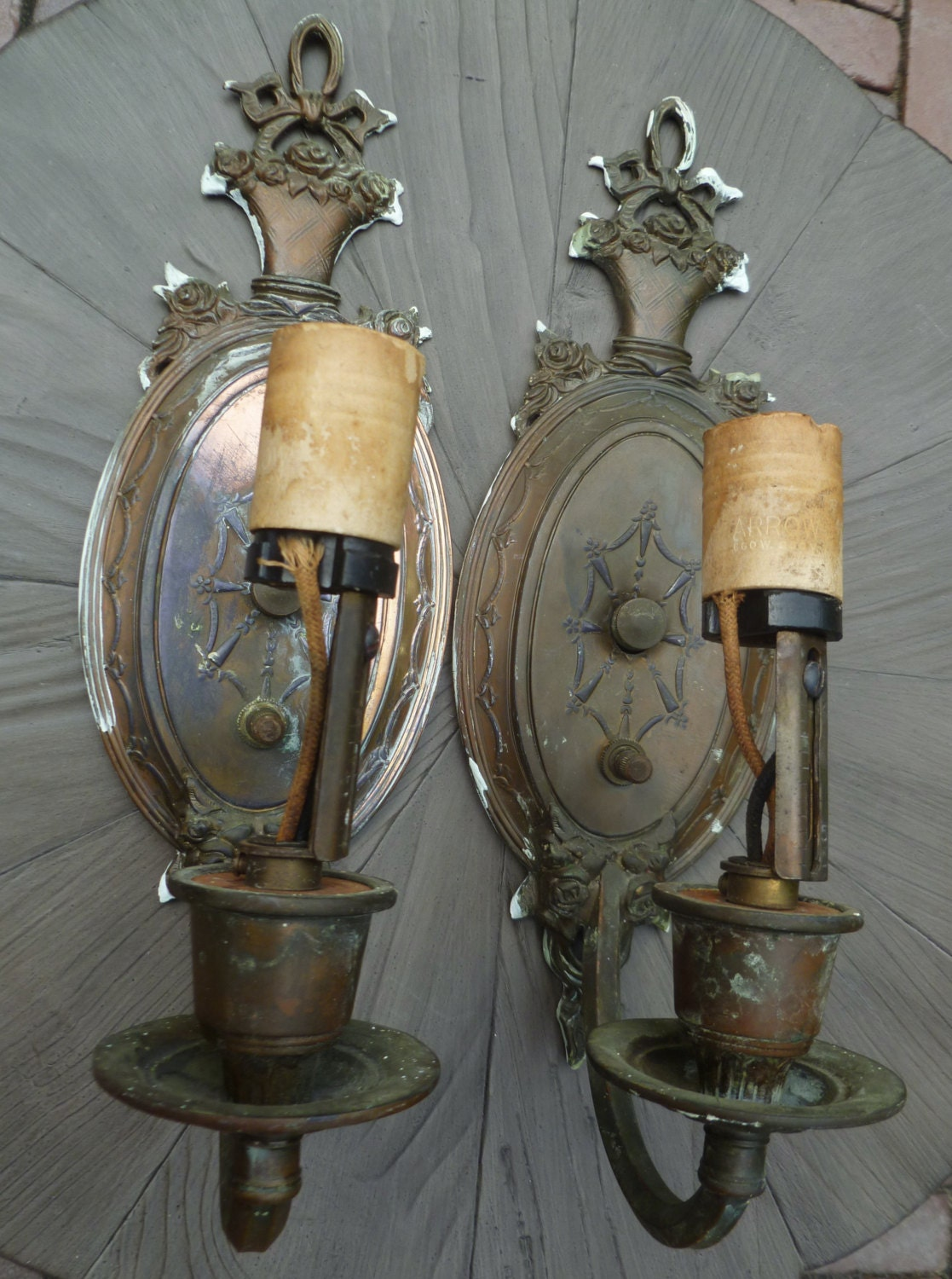 Pair Wall Sconces. 1920s Vintage Antique. Electric Light