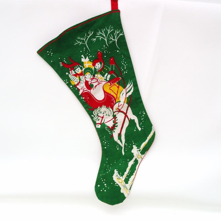 1950s Handmade Christmas Stocking Red Green Felt Fireplace