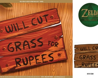 Zelda Party 8x10 Rupee Sign -  INSTANT DOWNLOAD - Printable Party Decorations