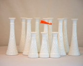 Vintage Set of 12 Milk Glass Bud Vases:  ALL the Same Pattern