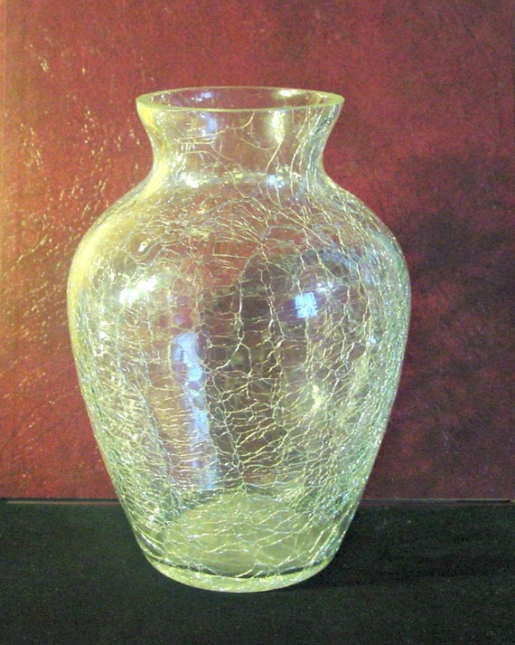 Clear Crackle Glass Vase