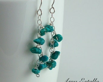 Turquoise Dangle Earrings - Sterling Silver Turquoise Earrings - Turquoise Nugget Earrings