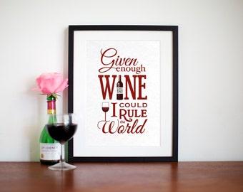 Wine Wall Art, Wine Print, Typographic Print, Wine Decoration, Wine, Wine Quote, Wine Decor, Kitchen Wall Art, Typography, Kitchen Poster