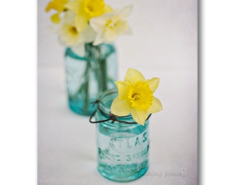 Daffodils Mason Jar Photography, Spring Daffodil Flower Print, Happy Yellow & Blue Turquoise Sunshine, Floral Bathroom Decor, Art Photograph