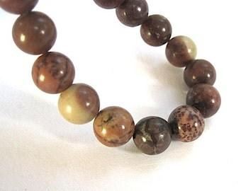 Earthy Gemstones, Paint Brush Jasper, Picture Jasper Stone Beads, Mocha Brown Beads, 8mm Round Beads - 22 Pieces