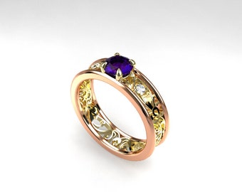Purple iolite engagement ring, filigree ring, rose gold, yellow gold, purple engagement ring, iolite, white sapphire, wedding ring, two tone