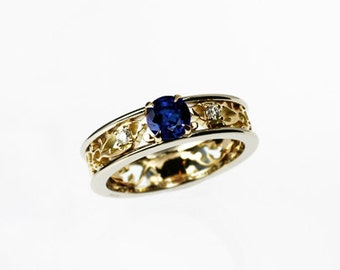 Blue sapphire engagement ring, yellow gold, white gold, filigree engagement ring, diamond ring, blue engagement, lace ring, filigree wedding