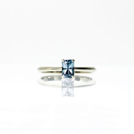 emerald cut light blue sapphire ring engagement ring blue
