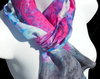 "Luminosity SILK SCARF. Hand Painted Silk Scarf by New York City artist Joan Reese/100%Silk/11''x60"""