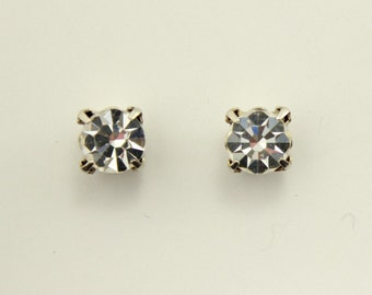 7mm Round Diamond Look Swarovski Crystal Magnetic Earrings in a Square Setting