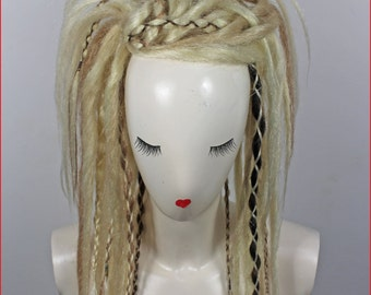 Mix Blonde & Dark Brown Synthetic Dreads Falls, 20 inches Long