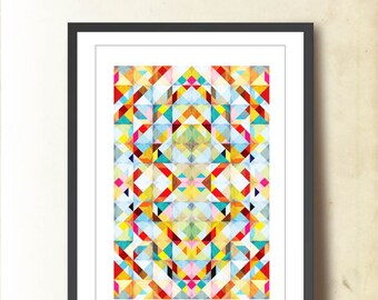 Tangram Geometric Art, Abstract Wall Decor Illustration. Geometric Poster A3, Abstract Wall Art in Bright Colors