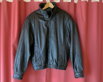 80's Black Leather Jacket with removable lining, Men's Large
