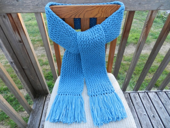 Knitting Loom Scarf Fringe : Country Blue Knit Scarf Loom Knitted Scarf by yarnworksandmore