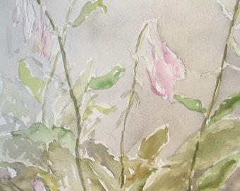 "Hosta Flowers -Watercolor Painting 12x16"" Original Artwork"