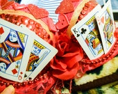 Custom Order Queen of Hearts Red Roses and Cards Sequined Go Go Bra