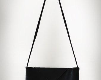 Black Leather Cross Body Bag. Leather Shoulder bag. Leather shoulder Cross Body Bag. black leather bag, black bag, orange leather bag
