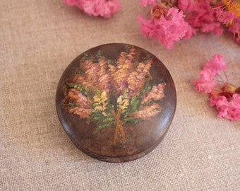 French Vintage Hand-painted Wooden Trinket Box