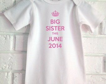 Big sister onesie pregnancy announcement baby onesie for Big sister birth announcement shirts