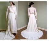 RESERVED 1970s Wedding Gown,  Wedding, Edwardian Inspired Wedding Gown, Vintage 1970s does 1800s Wedding Gown, Vintage wedding dress,