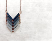 Ombre Geometric Pendant / DUST TO DUST / Minimal Necklace / Blue Hand-Painted Necklace / Minimal Wood Necklace / Modern Necklaces / Chevron