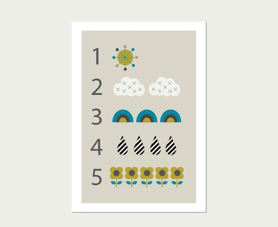 Clouds and Raindrops Numbers 1 to 5 Wall Art Print, Modern Nursery Decor, Modern Kids Wall Art, Kids Room Art.