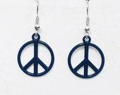 Surgical Steel Earrings, Peace Sign Earrings, Peace Sign Jewelry, Teal Earrings, Charm Earrings