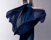 Dark blue evening dress, bridesmaid maxi dress
