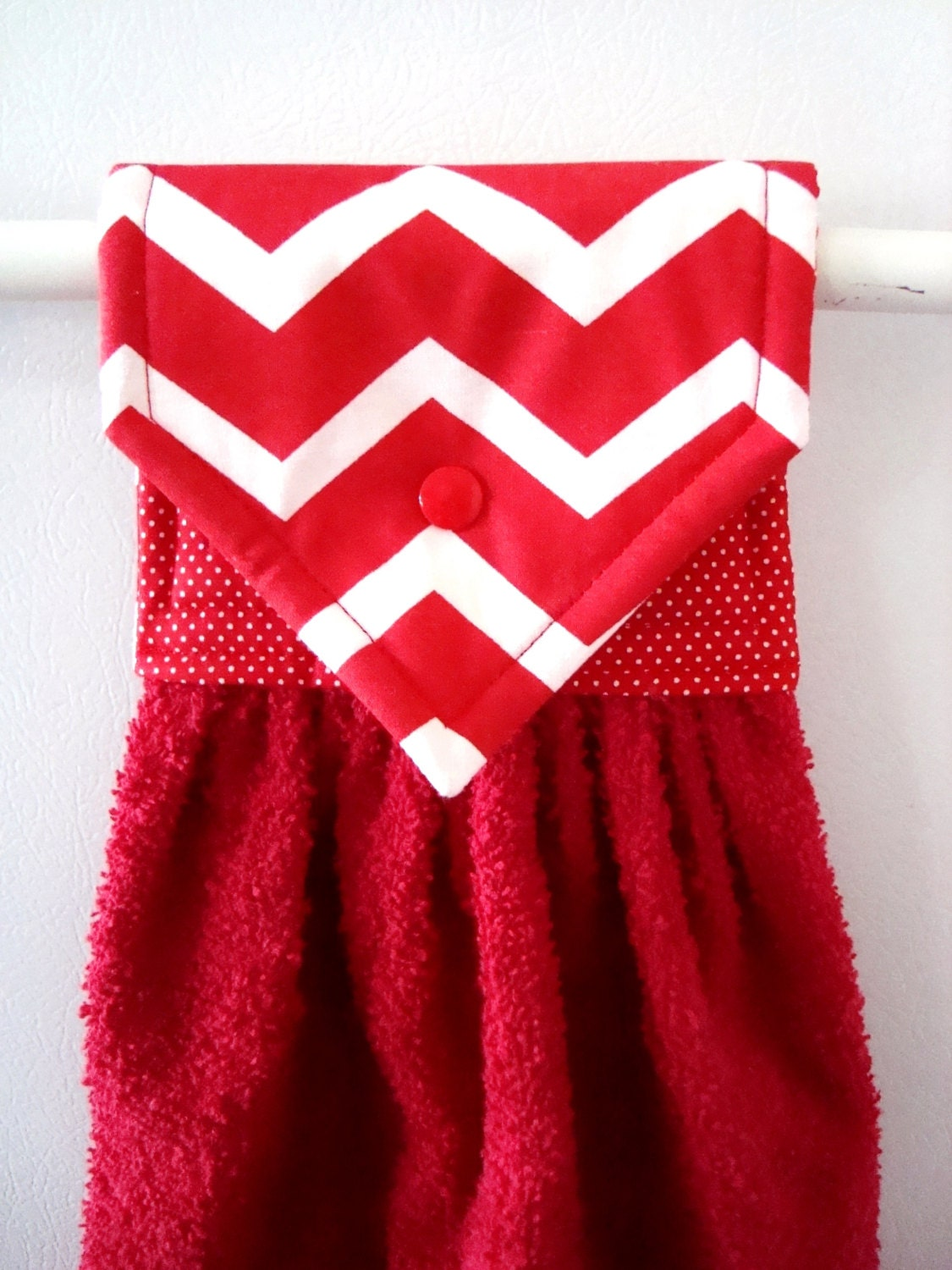 Hanging Hand Towel Red and White Chevron Kitchen Hand Towel