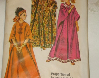1960s 60s Vintage Floor Length Caftan 3 Views BoHo Hippie Hostess Lounging Fashion UNCUT Proportioned Fit Simplicity Pattern 8354 One Size