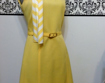 1950's Sunshine Yellow Dress and Jacket Suit from Butte Knit, Size Medium, Vintage 1950's 1960's Mad Men / Jackie O / Rockabilly Suit