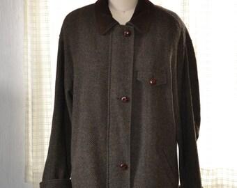M L Mackintosh New England Women's Classic Herringbone Tweed 3/4 Wool Coat Green Brown Metal Front Zip Leather Buttons & Collar 10 12 Nice