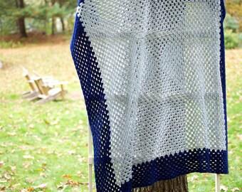 Crochet Blanket - Lambswool Blend - Grey/Navy Square