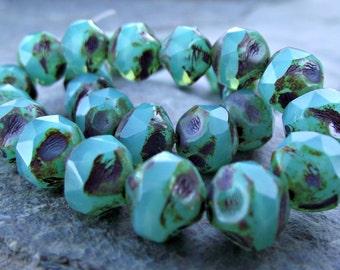 8mm Turquoise Opal Central Cut Beads CzechGlass CZ-230,turquoise opal bead,turquoise glass bead,czech turquoise bead,central cut beads