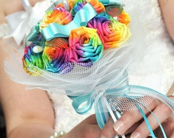 Rainbow bouquet - wedding silk flower - bridal silk roses - fabric bouquet