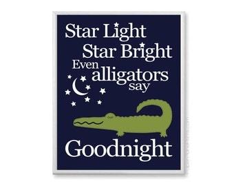 Alligator Nursery Art Print, Little Boys Room Decor, Boy Wall Art 11x14 Kid Quote Print, Navy Blue and Green Alligator Picture Bedtime Rhyme