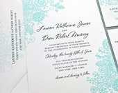 Lauren Teal Lace Wedding Invitation Sample - Custom Wedding Invitation
