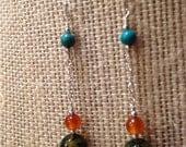 RESERVED-Green Agate Earrings, Turquoise Earrings, Carnelian Earrings Rust Sterling Silver Chain Earrings 2 Inch Dangle