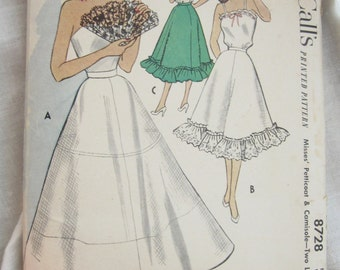 1950s McCall's 8728 Petticoat and Camisole Vintage Lingerie Sewing Pattern Bust 34