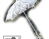 "27""  White Lace Pineapple Crochet UMBRELLA PARASOL, Photo Prop, Summer Wedding- Ready to Ship"