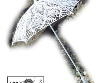 "50% Off SALE 27""  White Lace Pineapple Crochet UMBRELLA PARASOL, Photo Prop, Summer Wedding- Ready to Ship"