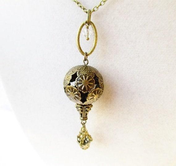 Romantic Bronze Filigree Hot Air Balloon Necklace