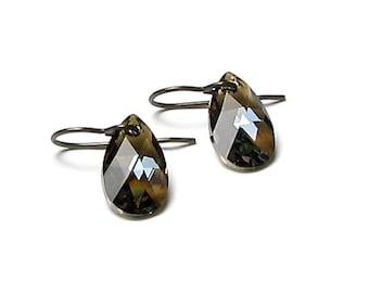 Bronze Shade Swarovski Crystal Teardrop Antique Brass Earrings Boho Style Brown Pear Shape Bohemian Crystal Fall Jewelry Gifts Autumn Trends