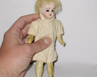 Antique Miniature Bisque Head Mignonette doll swivel head glass eyes and teeth